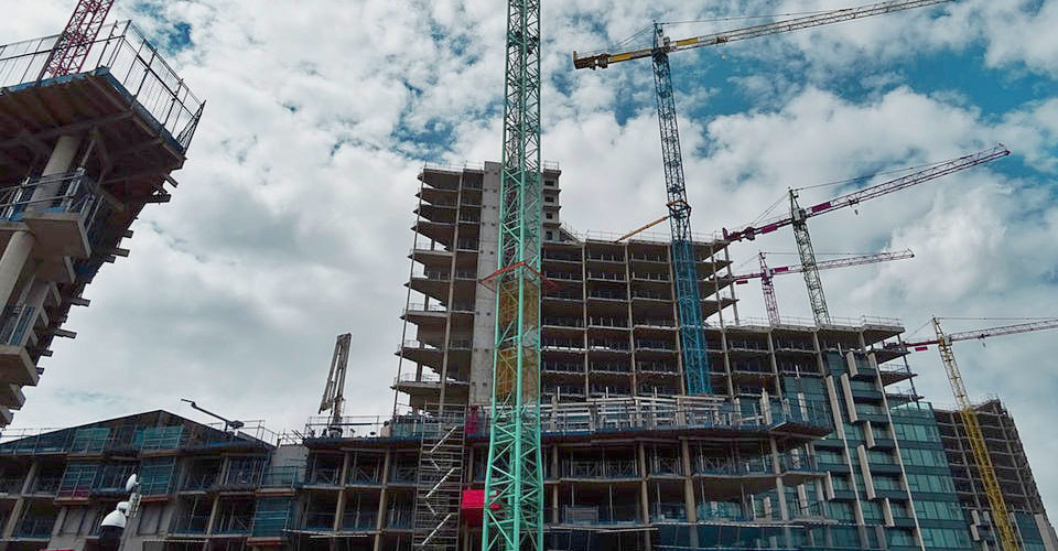 high rise construction site - building materials
