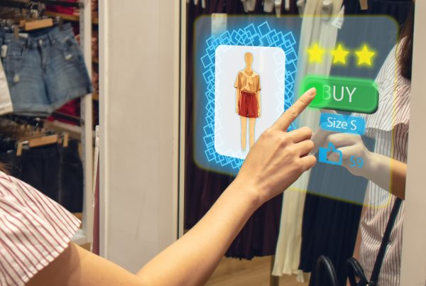 female using interactive screen to customize shopping