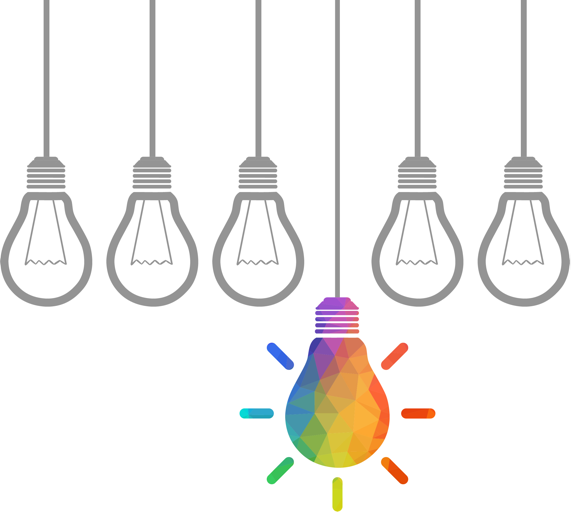 color light bulb illustration - design creativity