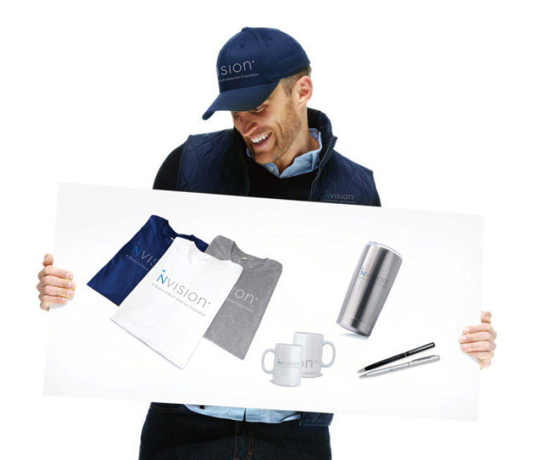 man holding promotional item board - branded merchandise