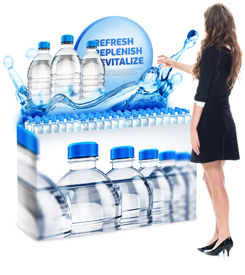 girl touching water bottle - display