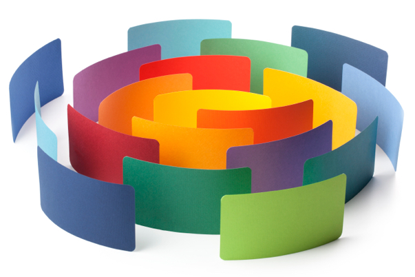 color paper wall circling