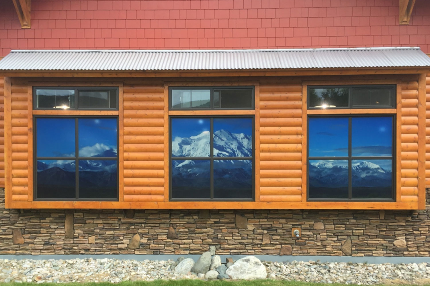window with mountain scenic view