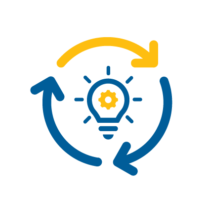 Implementation Icon - arrows circling light bulb