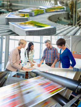three image banner of direct mail, people in the meeting and large printer
