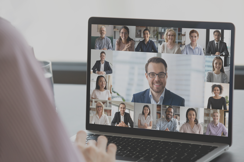 Person video conferencing with a group of people