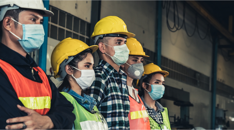 Workers with hard hat and face masks