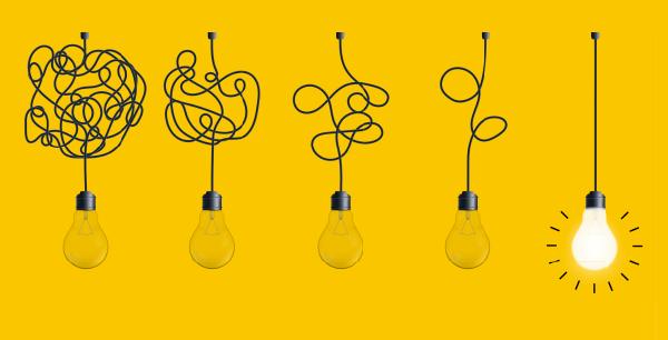 tangled to untangled light bulb illustration