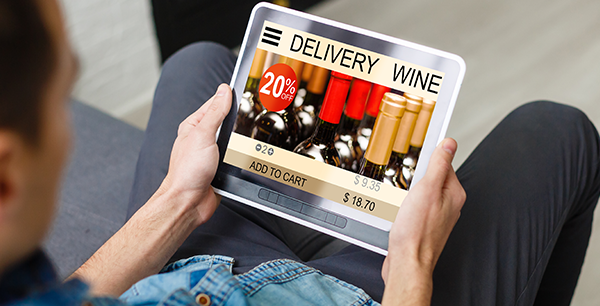 online wine delivery page on tablet