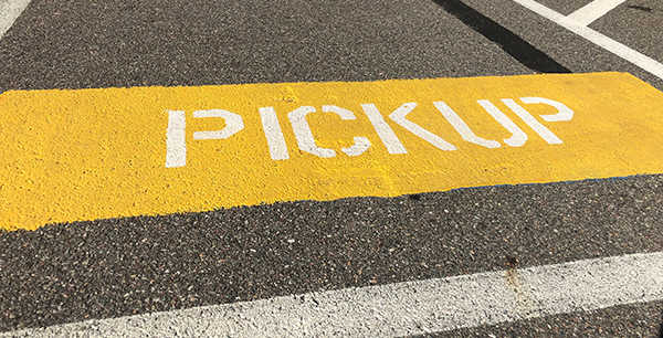 Pickup sign in the parking lot
