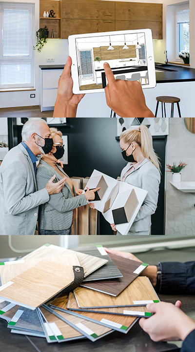 collage of building materials and customers