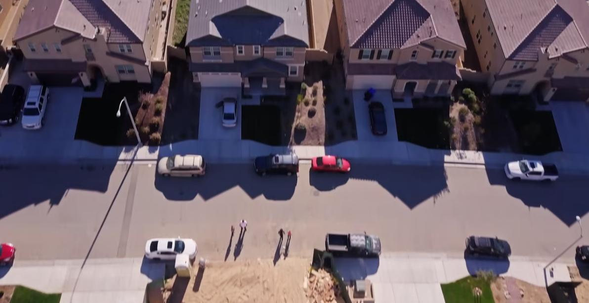 Aerial shot of suburban residents